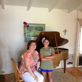 New baby grand piano for Isabella.  So exciting!