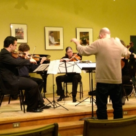 Conducting the Vaughan String Quartet playing my music at The Banff Centre (Alberta, Canada)