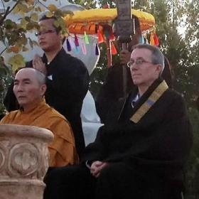 Participating in Buddha's Birthday celebration at White Sands Buddhist Center, Mims, Florida.