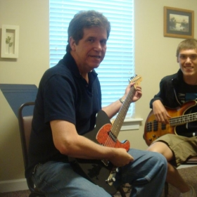 bass students learn common bass patterns and how to play along with guitar (me) as well as how to read music and tablature