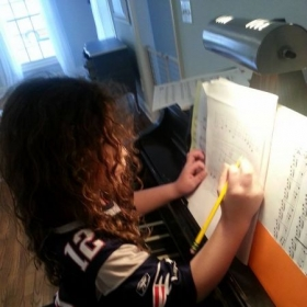 One of my youngest students learning how to write simple music