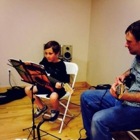 Will having a guitar lesson at Brian's music school in Chester, NY.