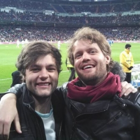 at soccer game in Madrid, Spain with my brother