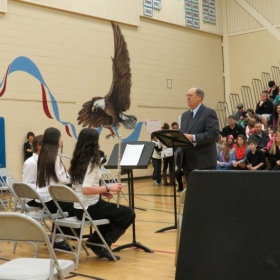 Preparing to conduct 2nd-year Elementary Band in concert, Skyview Jr. High School, Bothell