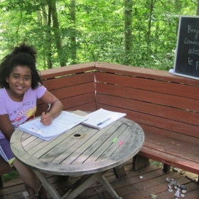 Today we had a lesson outside and learnt about nature, in French! Usually we learn inside, in my studio.