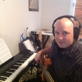 Playing Bass in my home studio!