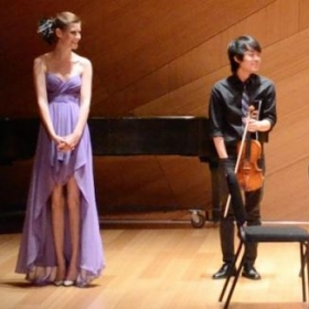 "With my performers after the premiere of ""Thunderstorm: for String Quartet."""