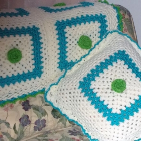 Large Granny square Afghan and Pillow