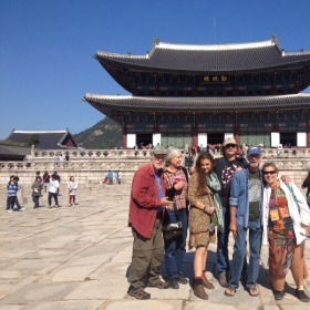 Sharon, far right, in South Korea with the Plaid Sofa Old-time String band.