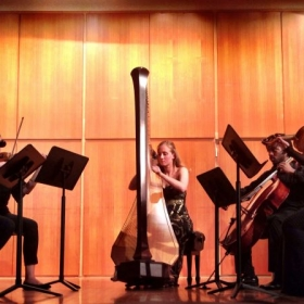 Performing the Debussy Danses with a string quartet at my Masters Recital.