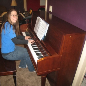 First day with a piano in our home- a gift from my sweet husband!  Couldn't stop smiling!! :)