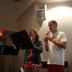 Practicing a duet at a wedding rehearsal