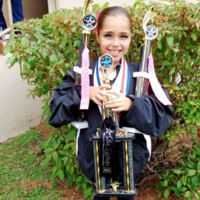 One of my students with her awards after competition.