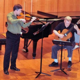 Performing at Rock Hall, Temple University, Philadelphia, with violinist Eric Lawson