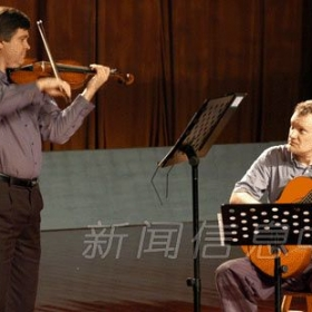 Performing in Nanchang, China, with violinist Eric Lawson.