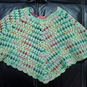 Child's poncho (Crochet) Chain, Single, Double, Scallops