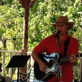 Olmsted Falls Heritage Days 2014 playing acoustic guitar with the Canyon Wind band