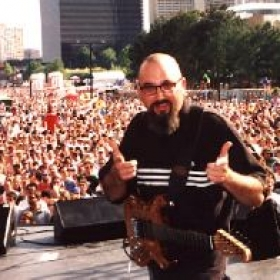 Performing before thousands at a festival in Atlanta, GA.