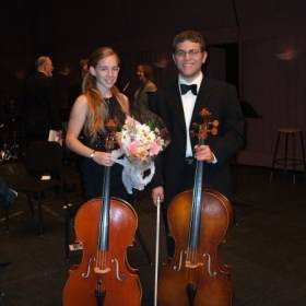 Me and friend, Isaac, after our first concert in college! We played a Boccherini duet together.