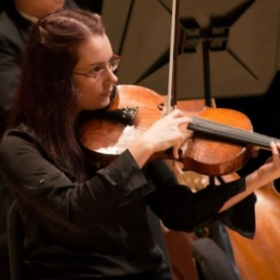 Playing viola in the Georgia State University Orchestra