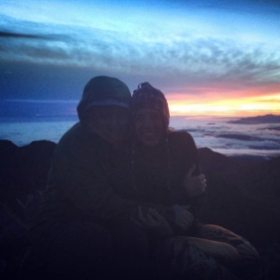 Huddling for warmth with a friend after hiking to the summit of Cerro Chirripo, Costa Rica's highest peak, to see the sunrise!