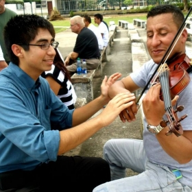 Teaching violin in South America, Colombia on the army base.
