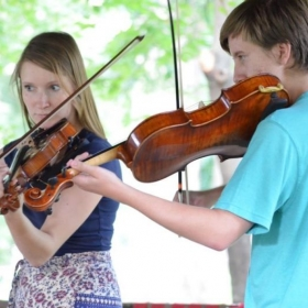 performing with a viola student at Duet Day 2014
