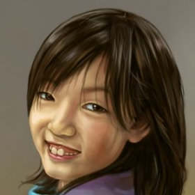 portrait digitally painted from photo reference using GIMP.