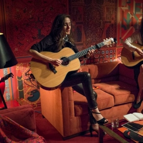 Playing Velvet Underground songs at a private event for Hermes, with Sabina Sciubba of Brazilian Girls.