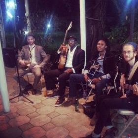 Performing at the house of the American Ambassador in Accra, Ghana.