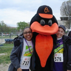 My best friend Janine & I with the Oriole Bird at the National Walk for Epilepsy 2012