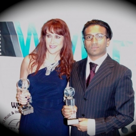 "Another Awards Reception as Best Director and with the Composer who scored my film ""Charity"" and won for Best Score!"