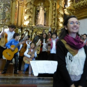 Taking a bow with the children of the Andean Orchestra. Cusco, Peru