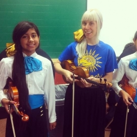 With some of my Mariachi students at an AISD event for Hispanic Heritage month. 2014.