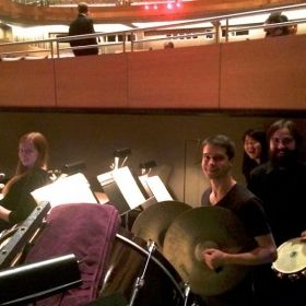 Playing cymbals with the CSUN Symphony Orchestra at Valley Performing Arts Center in Oct. 2014. We were performing Bizet's opera Carmen...!