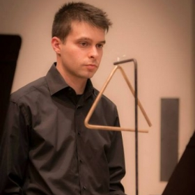 Playing triangle for Mehran Tebyani's orchestra at CSUN in November, 2014.
