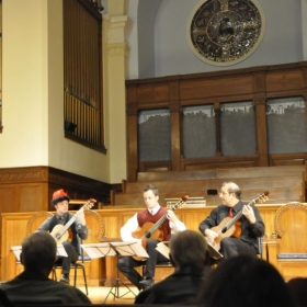 Performance in San Francisco with SFCM Faculty Member and Mentor Larry Ferrara. Three Smallman Guitars!