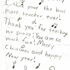 Original handwritten note by one of Joni C's students.