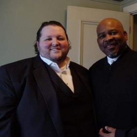 With tenor Victor Morris after a performance at Town Hall, Seattle.