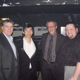 With the composers for the HALO video game series, after taking part in the world premiere of the music for HALO ODST at Video Games Live.