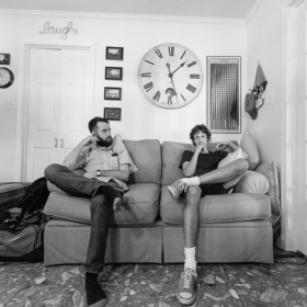 Taking a break while working on a record with Pete Donnelly (The Figgs) in North Shore, Maryland in July 2014.