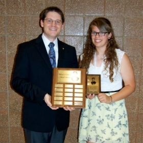 Receiving the Patrick S. Gilmore award at my high school band's award night.