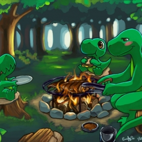 """scene/concept art, from my original comic """"Dinnersaurus Rex."""" This illustration was made specifically for a video game based on the series."""