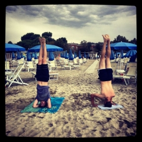 Teaching people how to do headstand is the best.