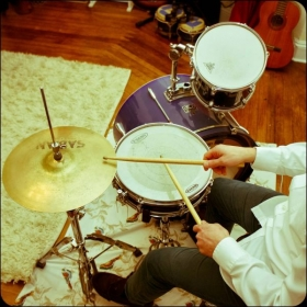 Drums in the studio space
