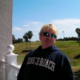 Relaxing in Sarasota after a round of golf.