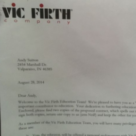 Acceptance letter from Vic Firth!