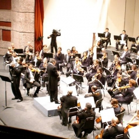 Filming for a public broadcast in Munich, Germany. (I'm the one playing the Eb trumpet in the front)