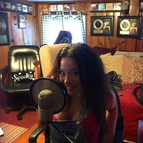 Recording voice-over's for the Killer Rack Movie with Scream Queen Brooke Lewis starring as The Rack!