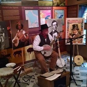 Mark Bridge performing minstrel style banjo at a museum gig.  Styles played for the performance were minstrel, clawhammer and melodic.